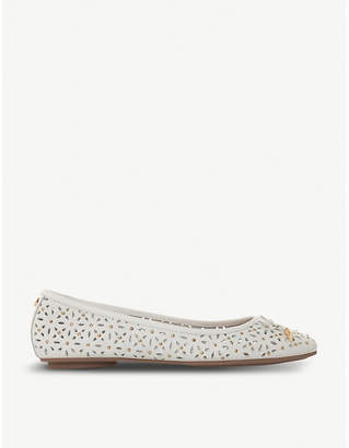 Dune Helenn floral laser-cut leather ballet pumps