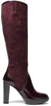 Hogan Glossed Leather-Paneled Suede Knee Boots