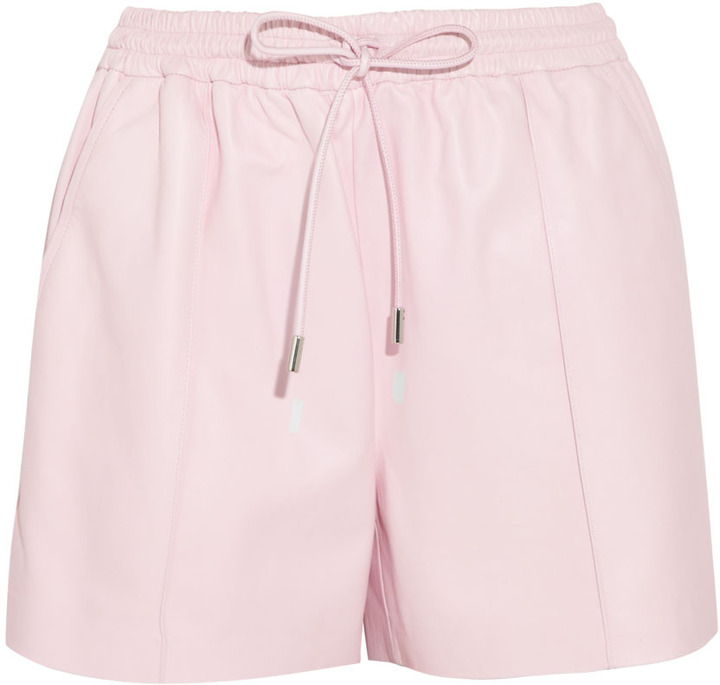 Givenchy Pastel-pink leather drawstring shorts