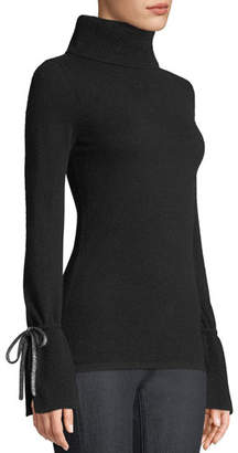Neiman Marcus Bell-Sleeve Turtleneck Cashmere Sweater