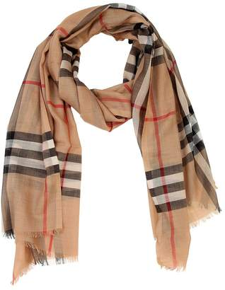 Burberry Logo Checked Wool Scarf