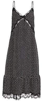 Marc Jacobs Women's Polka Dot& Lace Silk Midi Slip Dress - Size 0