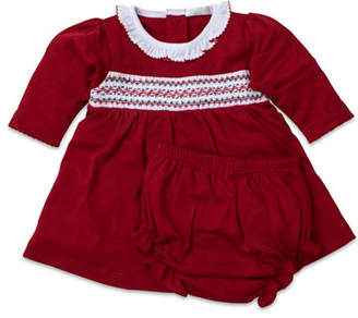 Kissy Kissy Smocked Long-Sleeve Holiday Dress w/ Bloomers, Size 0-18 Months