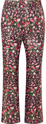 Raquel Diniz Eunice Floral-print Silk-lamé Bootcut Pants - Black