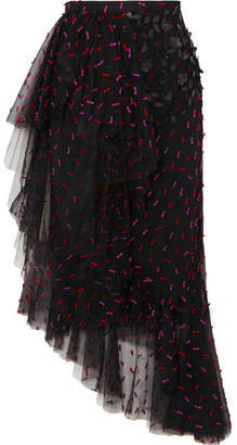 Rodarte Asymmetric Ruffled Appliquéd Tulle Midi Skirt - Black