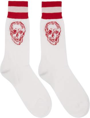 Alexander McQueen White and Red Graffiti Skull Socks