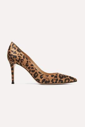 Gianvito Rossi 85 Leopard-print Satin Pumps - Leopard print