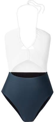 Vix Rachel Cutout Two-tone Swimsuit - Navy