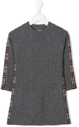 Burberry check trim knitted dress