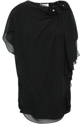 Lanvin Draped Floral-appliqued Silk-chiffon Top