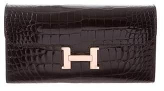 Hermes 2018 Alligator Constance Long Wallet