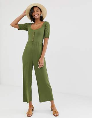Asos Design DESIGN short sleeve rib button front jumpsuit