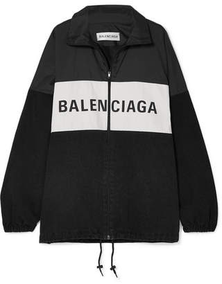 Balenciaga Oversized Printed Denim And Shell Jacket - Black