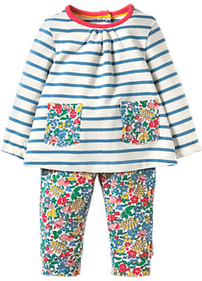 Boden Mini Baby Floral Stripe Top and Leggings Set, Blue