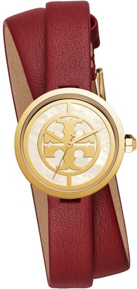 Tory Burch REVA DOUBLE-WRAP WATCH, RED LEATHER/GOLD-TONE, 29 MM