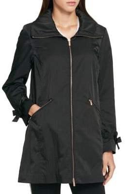 Karl Lagerfeld Paris Hooded Long-Sleeve Full-Zip Jacket