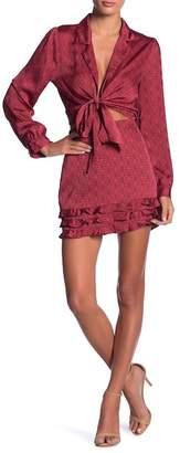 Honey Punch Ruffled Print Satin Mini Skirt