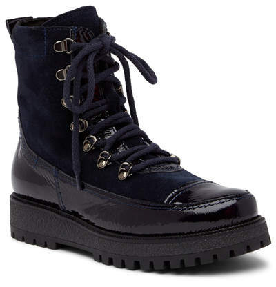 Manas Suede & Patent Leather Combat Boot