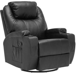 kerrito Heated Recliner Chair, Bonded Leather Massage Chair with Control and Cup Holder for Living Room (Black)