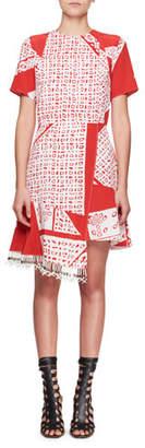 Altuzarra Tournelle Short-Sleeve Bandana-Print Silk Dress