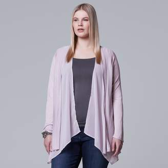 Vera Wang Plus Size Simply Vera Mixed-Media Flyaway Cardigan