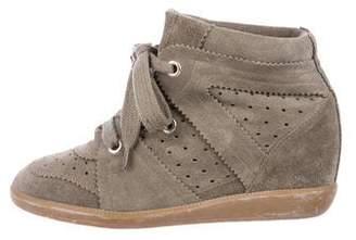 Isabel Marant Suede High-Top Wedge Sneakers