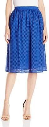 Lark & Ro Women's Eyelet Midi Skirt