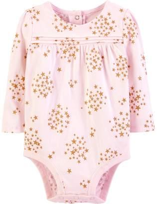 Osh Kosh Oshkosh Bgosh Baby Girl Glittery Star Pintuck Bodysuit