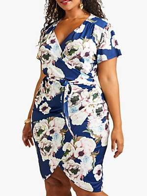 Yumi Curves Abstract Floral Wrap Dress, Navy