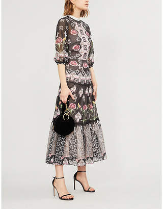 Temperley London Tiered printed chiffon midi dress