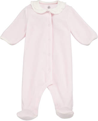 Petit Bateau Velour Front-Snap Footie Pajamas w/ Contrast Collar, Size 1-9 Months