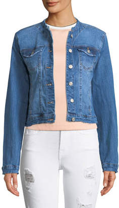 Etienne Marcel Collarless Cropped Jean Jacket with Frayed Hem
