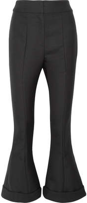 Jacquemus Nino Cropped Wool And Cotton-blend Flared Pants - Black
