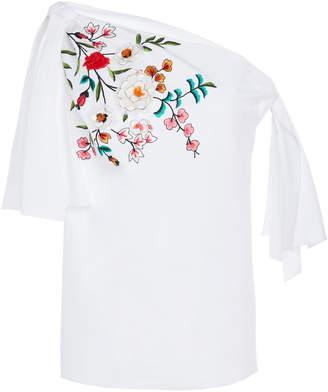 Carolina Herrera Off-The-Shoulder Embroidered Cotton-Blend Blouse
