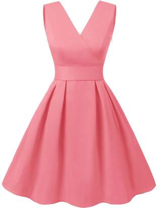 Dresstells reg; Vintage 1950s Solid Color V Neck with Bow Tie Retro Swing Dress S