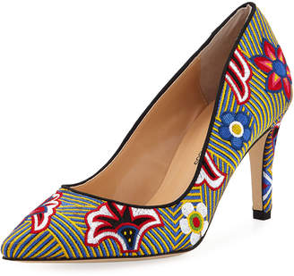 Neiman Marcus Agostina Floral-Embroidered Pumps