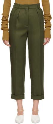 Victoria Beckham Green High-Waisted Trousers