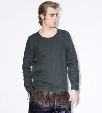 Paul Smith Navy Linen Smock With Leather Fringe