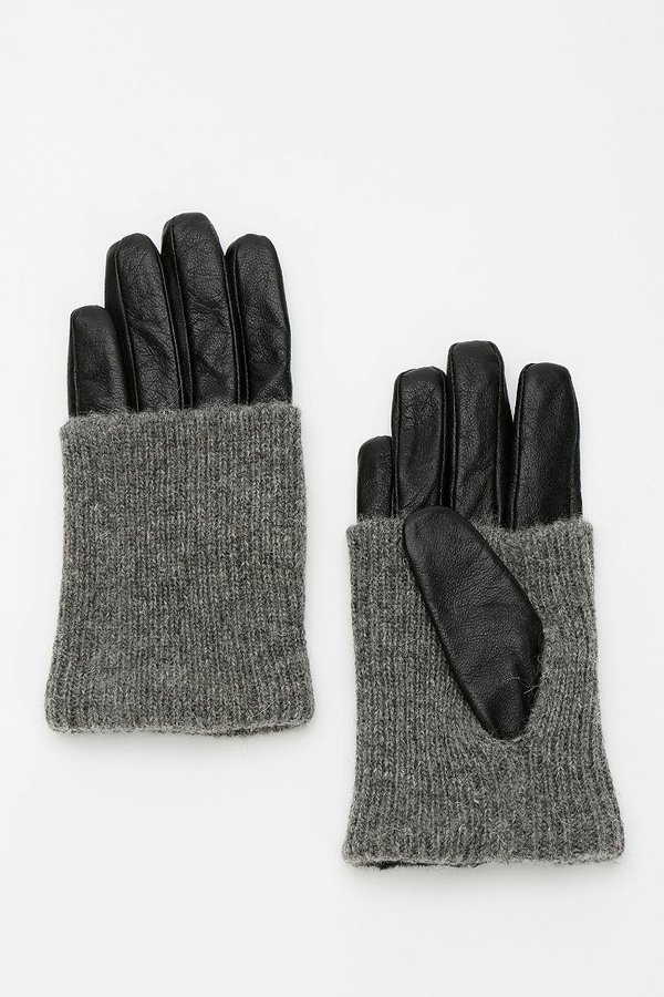Urban Outfitters Knit-Trim Leather Glove