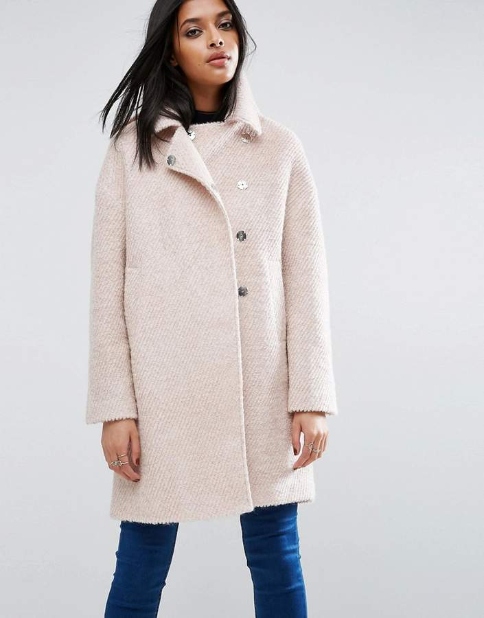 AsosASOS Oversized Cocoon Coat with Funnel Neck in wool Mix and Boucle Texture