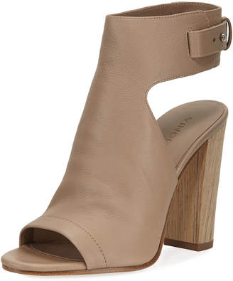 Vince Addie Leather Open-Toe Booties, Taupe