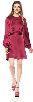 Wild Meadow Women's Long Blouson Sleeve Dress with Self Sash Waist Tie M