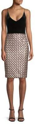 Black Halo Finley Quilted Sheath Dress