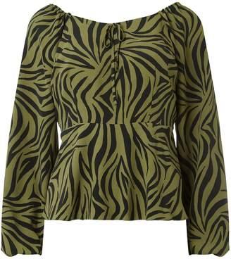 0cd5aeeaf2c8 Dorothy Perkins Womens Khaki Animal Print Square Neck Top