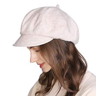 Cloche Jeff & Aimy Womens Newsboy Cap 50% Wool Winter Hat Ladies Beret Hat with Visor Hats Lined Black