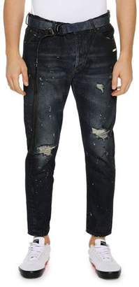 Off-White Men's Slim Low-Crotch Distressed Jeans