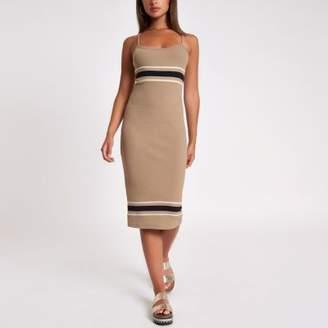 River Island Beige stripe rib bodycon midi dress