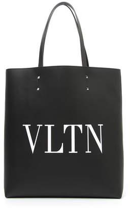 Valentino Men's VLTN Logo Leather Tote Bag