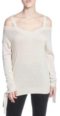 Catherine Malandrino Tie-Accented Cold-Shoulder Sweater