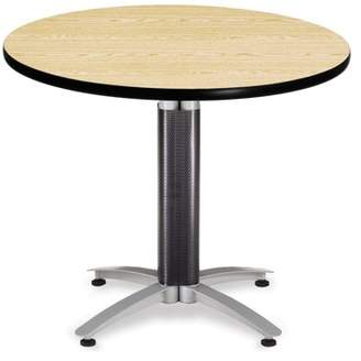 "OFM Core Collection 36"" Multi-Purpose Round Table with Metal Mesh Base, in Oak (KMT36RD-OAK)"